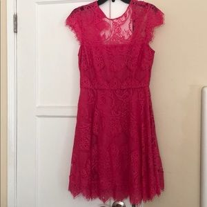 Hot pink lace short dress